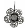 Filigree Earring Setting 36mm Flower Antique Silver